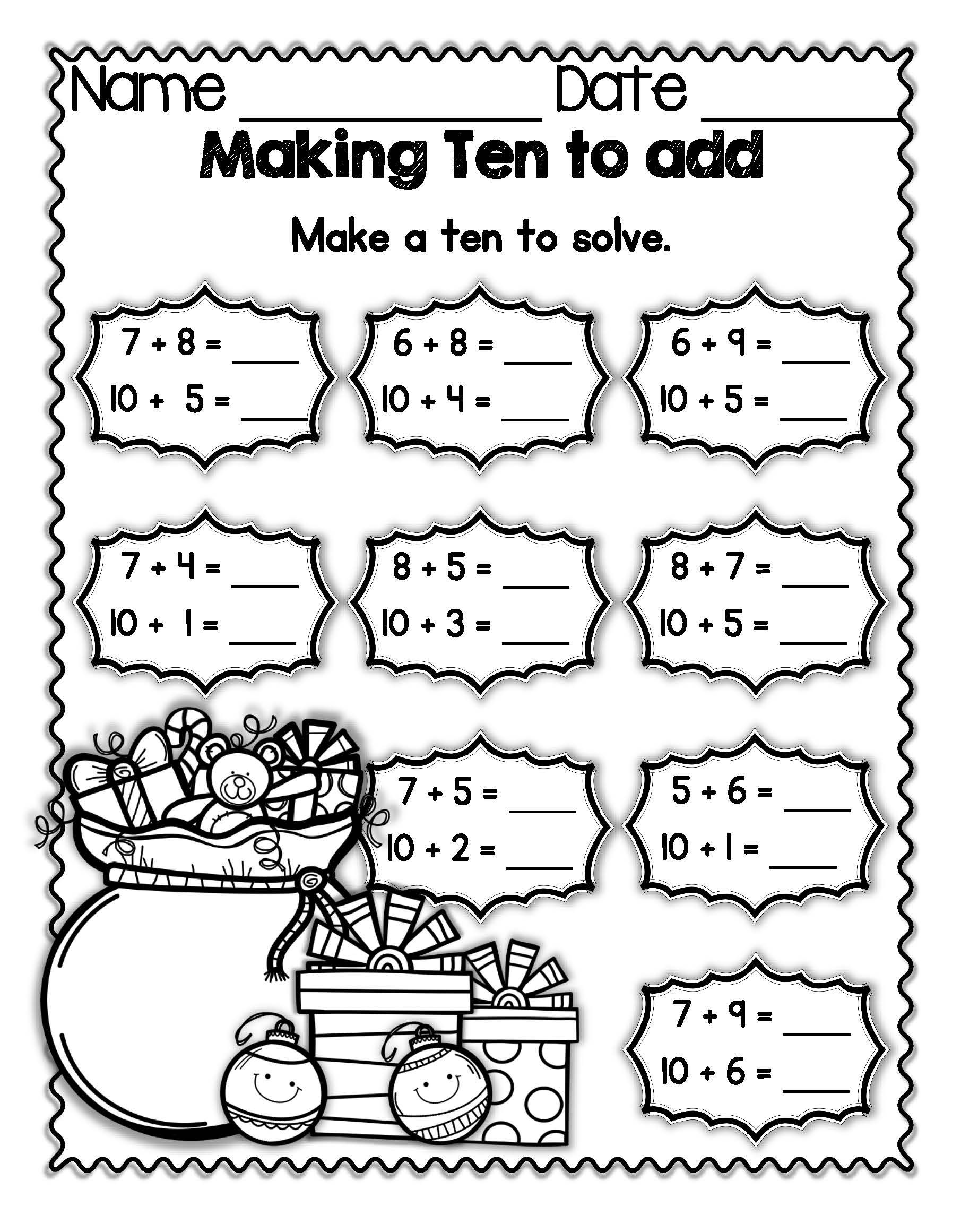 "Holiday FREEBIE: Students ""make ten"" by breaking apart a"