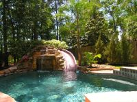 This A Lovely Small Outdoor Pool With Water Slide ...