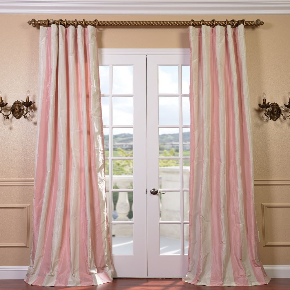 Exclusive Fabrics Light PinkCream Stripe Faux Silk