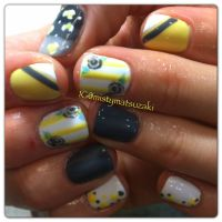Yellow and grey shellac and gelish nail design by misty ...
