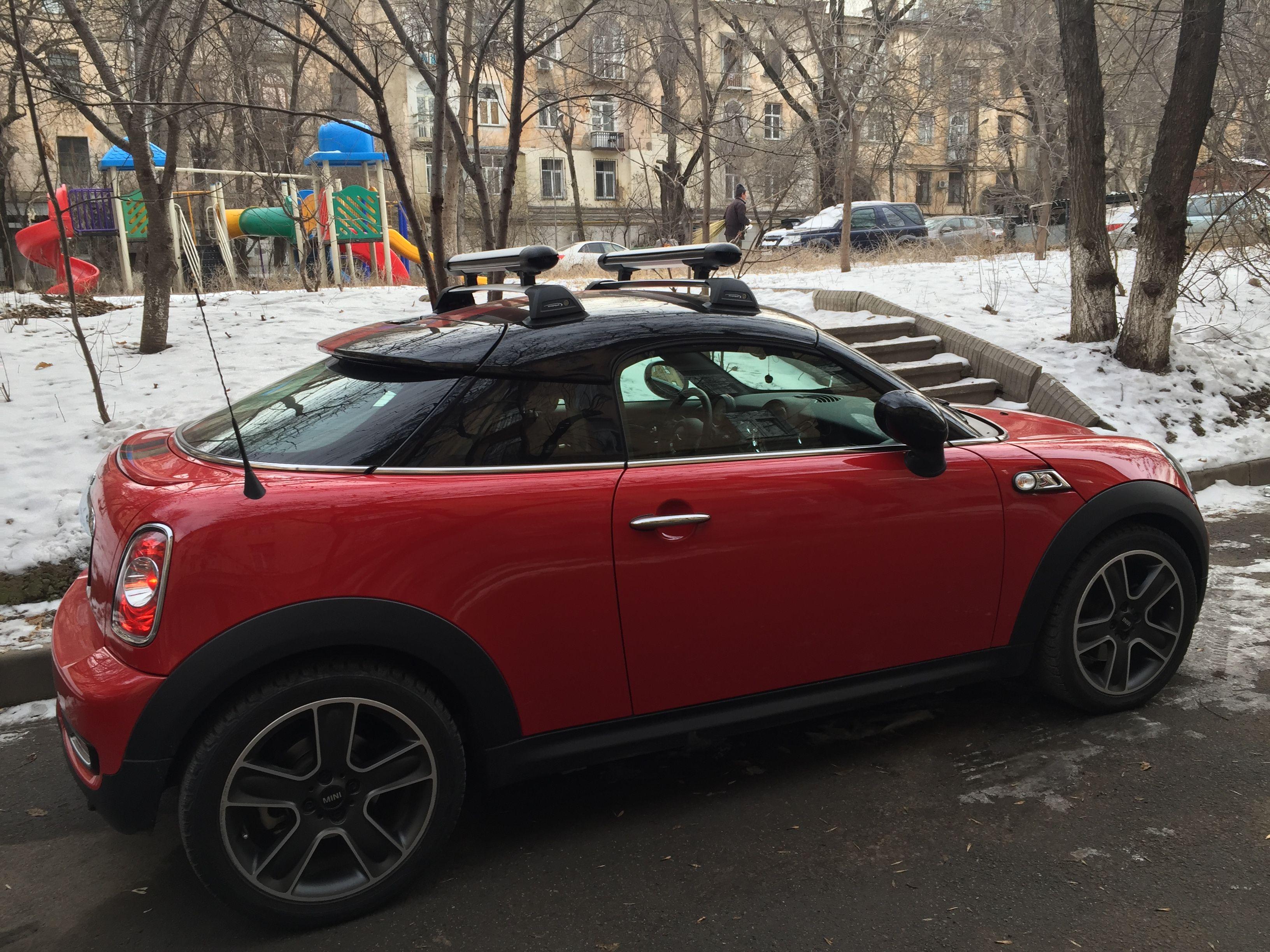 Mini Cooper S Coupe Roof Rack Snowboard #Mini #Coupe #