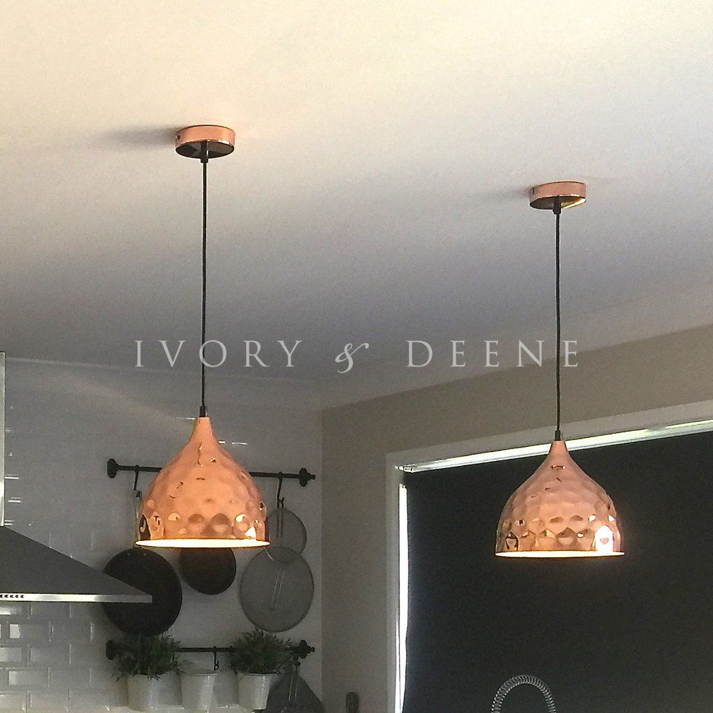 copper pendant light kitchen tile floor hammered nora lighting