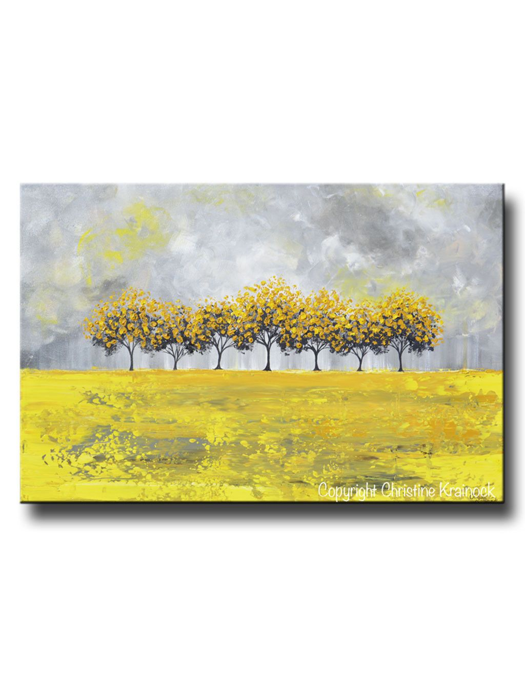 GICLEE PRINT Art Abstract Yellow Grey Painting Tree