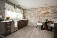Contemporary cabinetry, faux wood floor tile, stacked ...