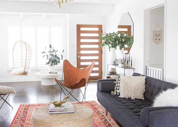 Gray couch red and pink tribal rug neutral coffee table living room tour baby proofing safety gates sarah sherman samuel also image via interior pinterest