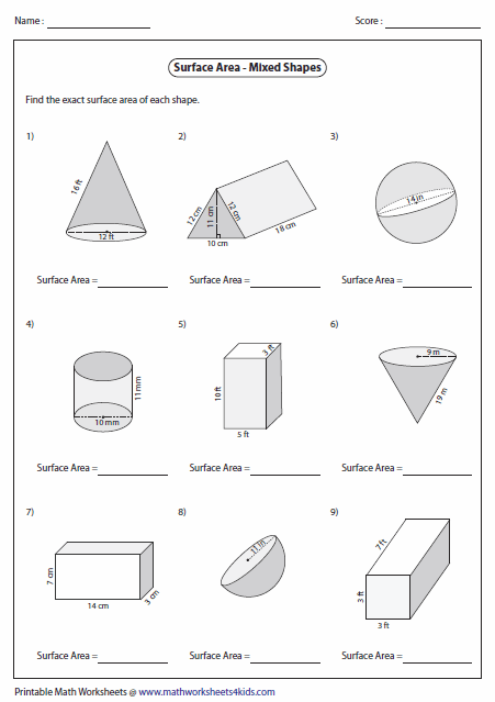 Math Worksheets For Grade 7 Surface Area And Volume