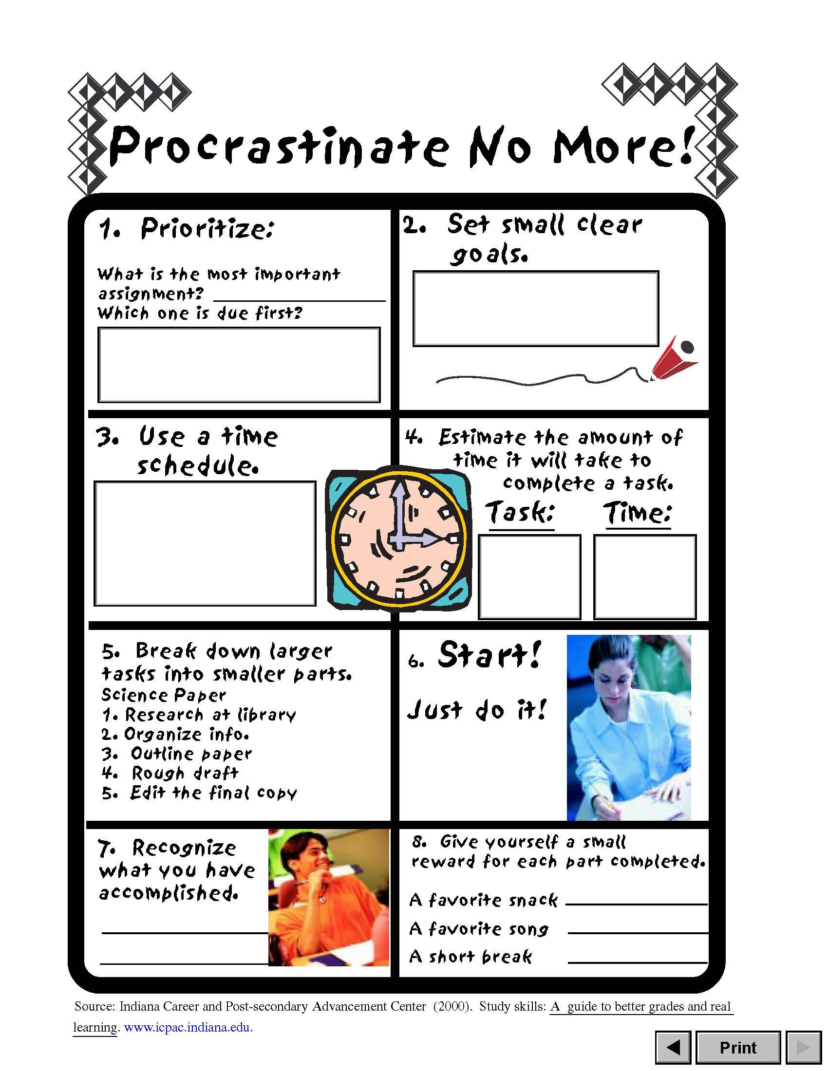 Procrastinate No More Va Career View A Worksheet To Help