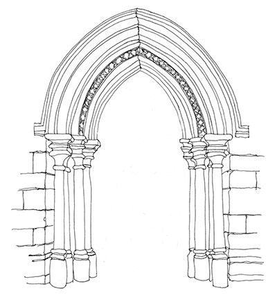 Gothic Architecture Pointed Arch Sketch Coloring Page