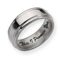 Titanium Grooved Edge 8mm Polished Men's Promise Ring