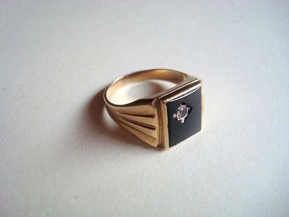 Herren Ring Gold 375 Onyx kleiner weier Stein Siegelring Art alt 54 Gramm 9 CT  Praecultus
