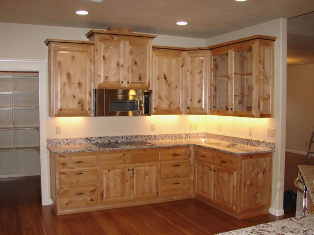 alder cabinets kitchen bright light fixtures knotty cost pinterest