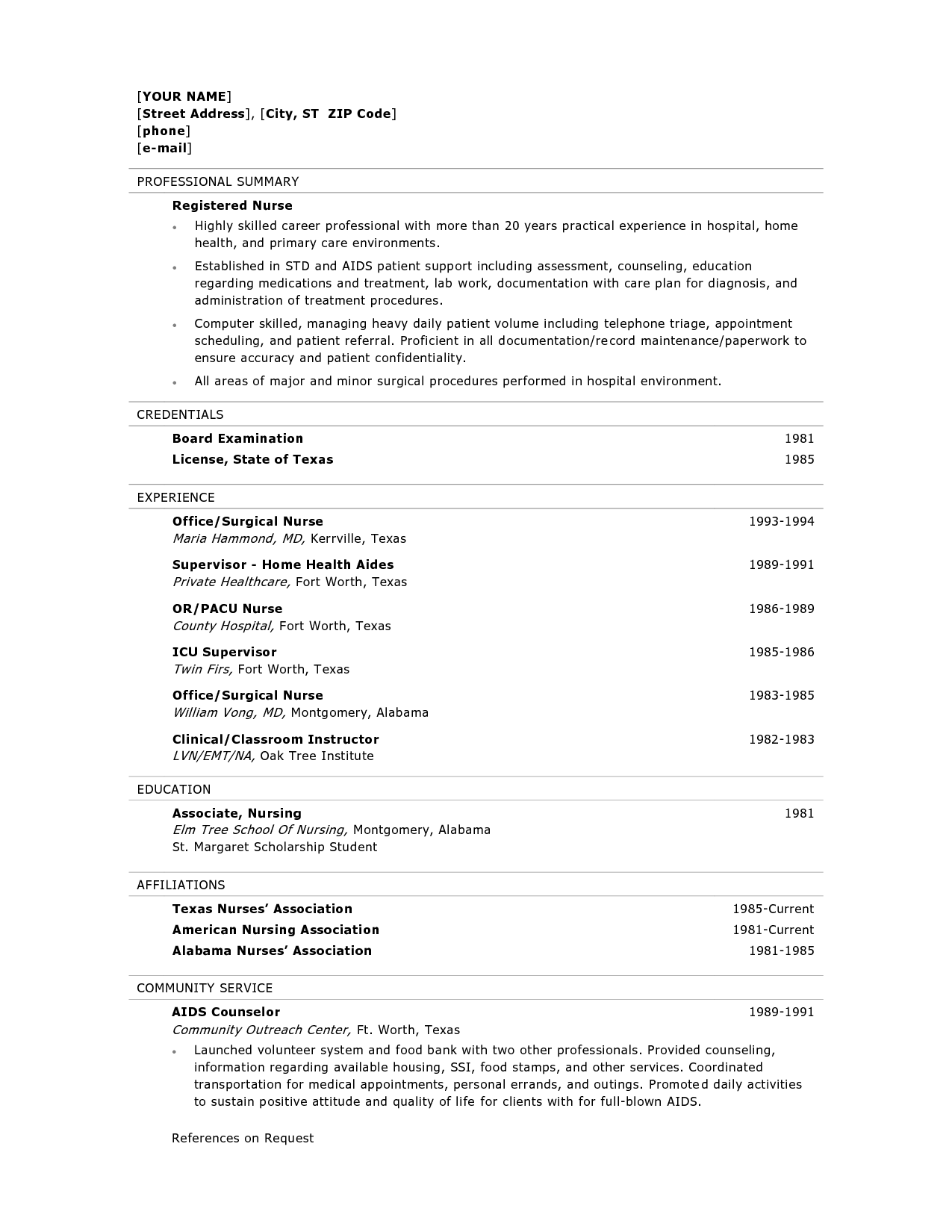 objective for resume examples nursing