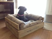 DIY comfy crate dog bed. Just write the name on with a ...