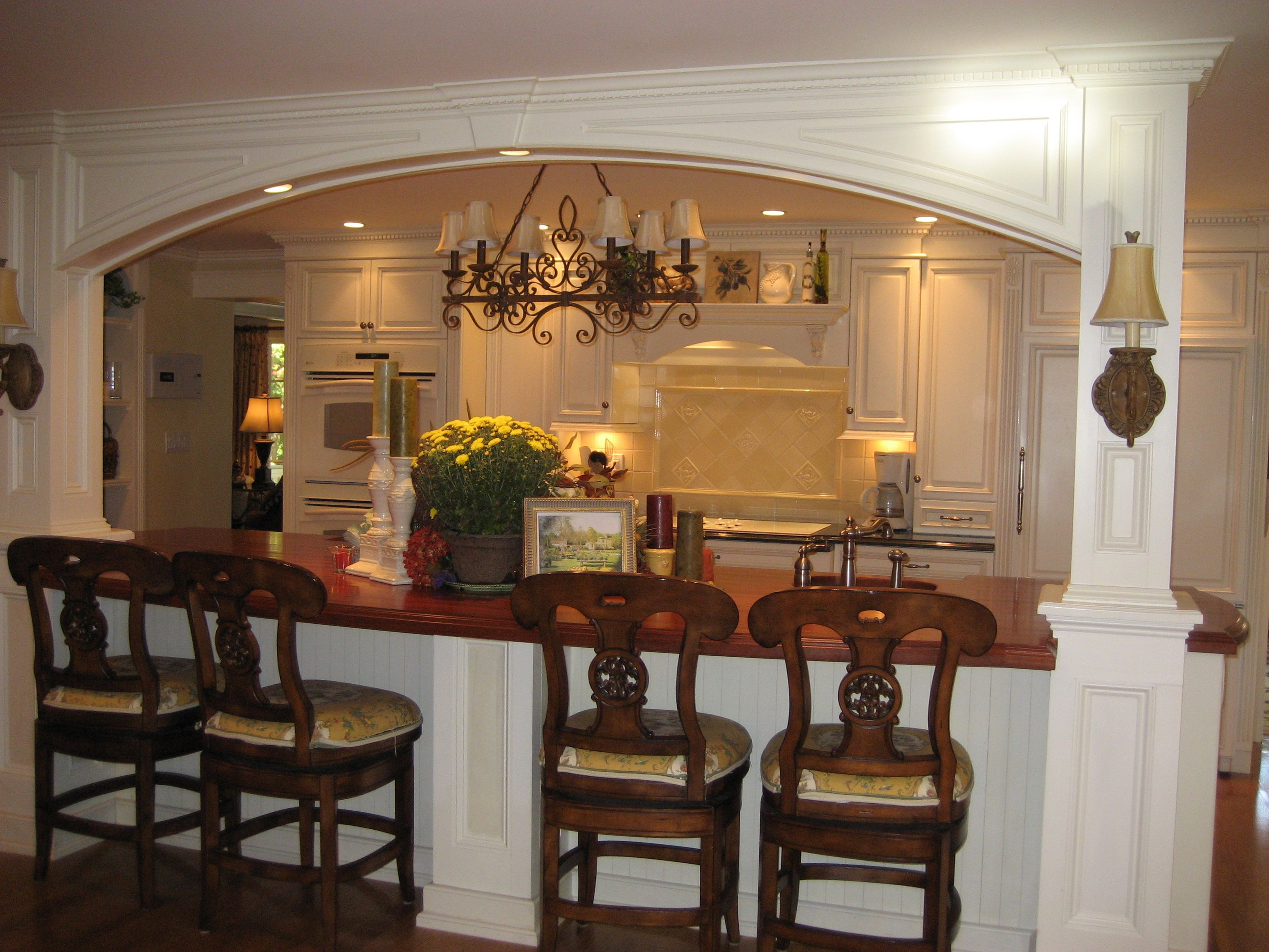 Kitchen Island Incorporating Lally Columns