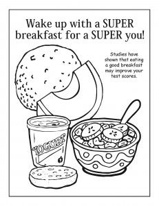 The Importance of breakfast: Free coloring activity for