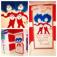 Dr. Seuss classroom door with Thing 1 and Thing 2 | My ...