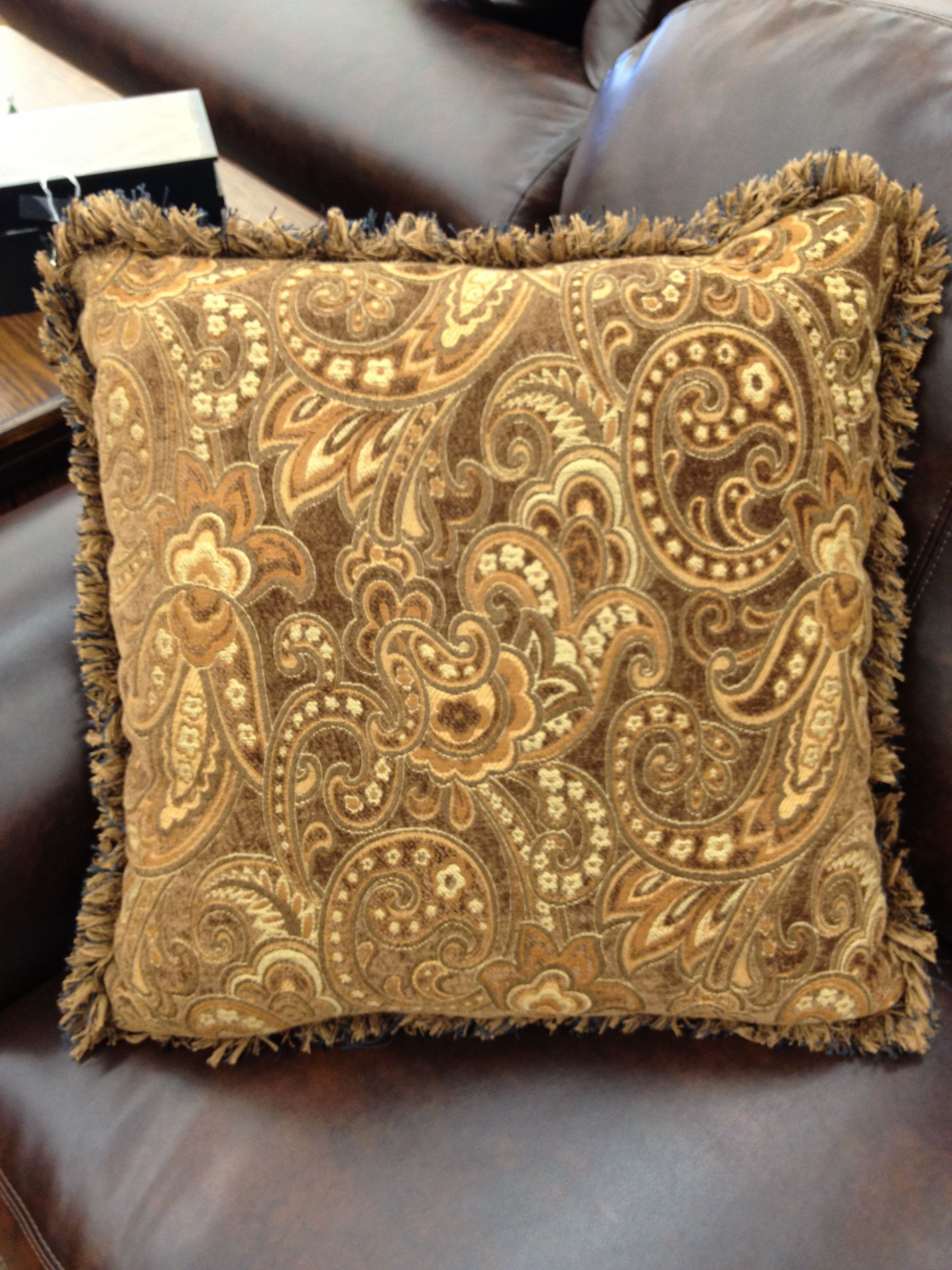 Paisley brown patterned throw pillow with fringe  Accent