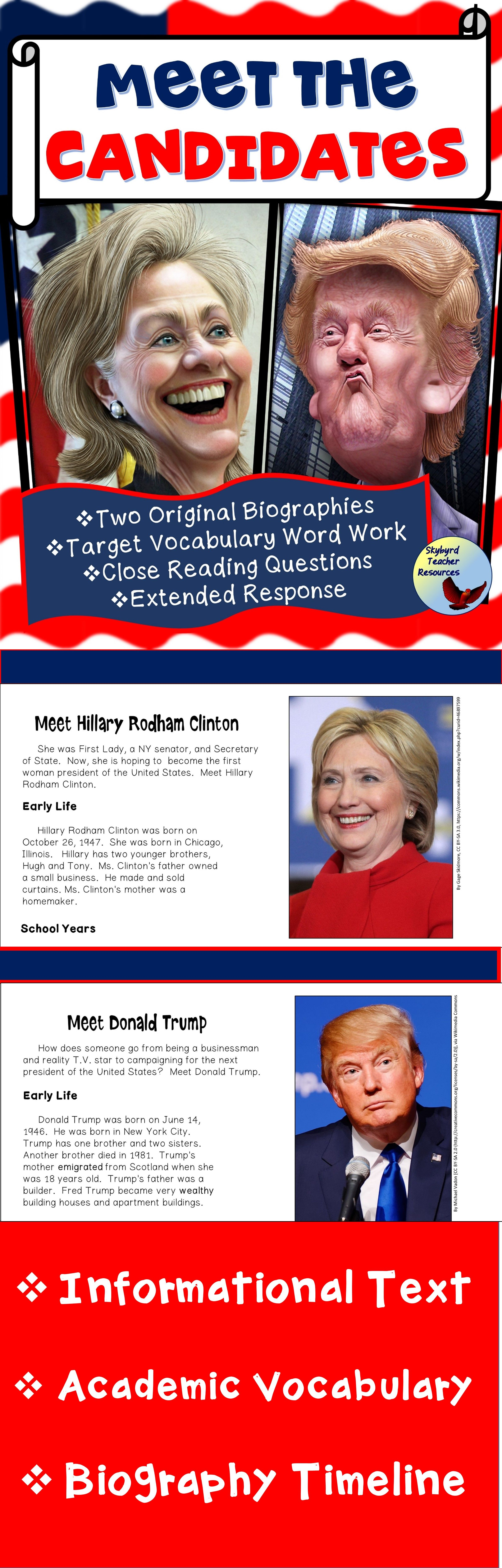 Donald Trump Reading And Vocabulary Activities Gen Ed Esl Sped