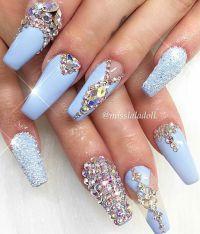 Baby blue rhinestone nails   Aztec Nails   Pinterest ...