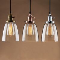 Vintage industrial ceiling lamp cafe glass pendant light ...