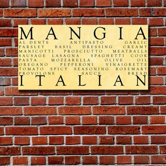 Mangia Kitchen Word Art Al Dente Antipasto Garlic Parsley