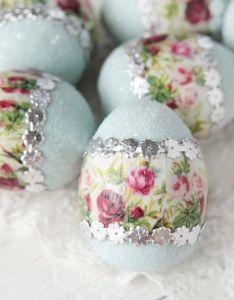 Floral easter egg blue spun cotton decoration also dresden rh pinterest