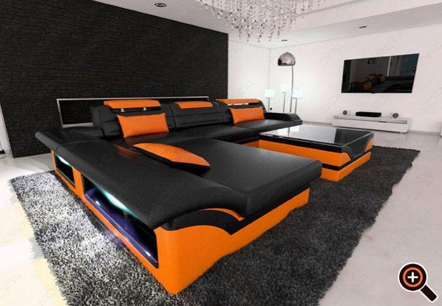 Designer Couch Modernes Sofa Furs Wohnzimmer Aus Leder In Wei Braun Schwarz