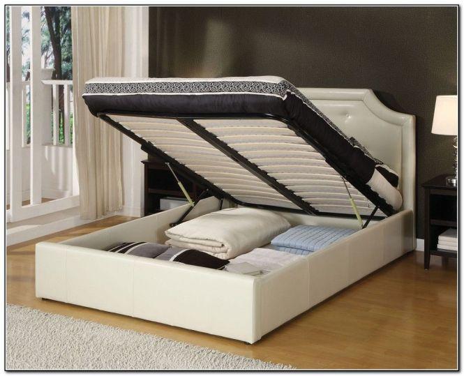 Contemporary Bedroom With White King Platform Full Bed Frame Storage Under Design