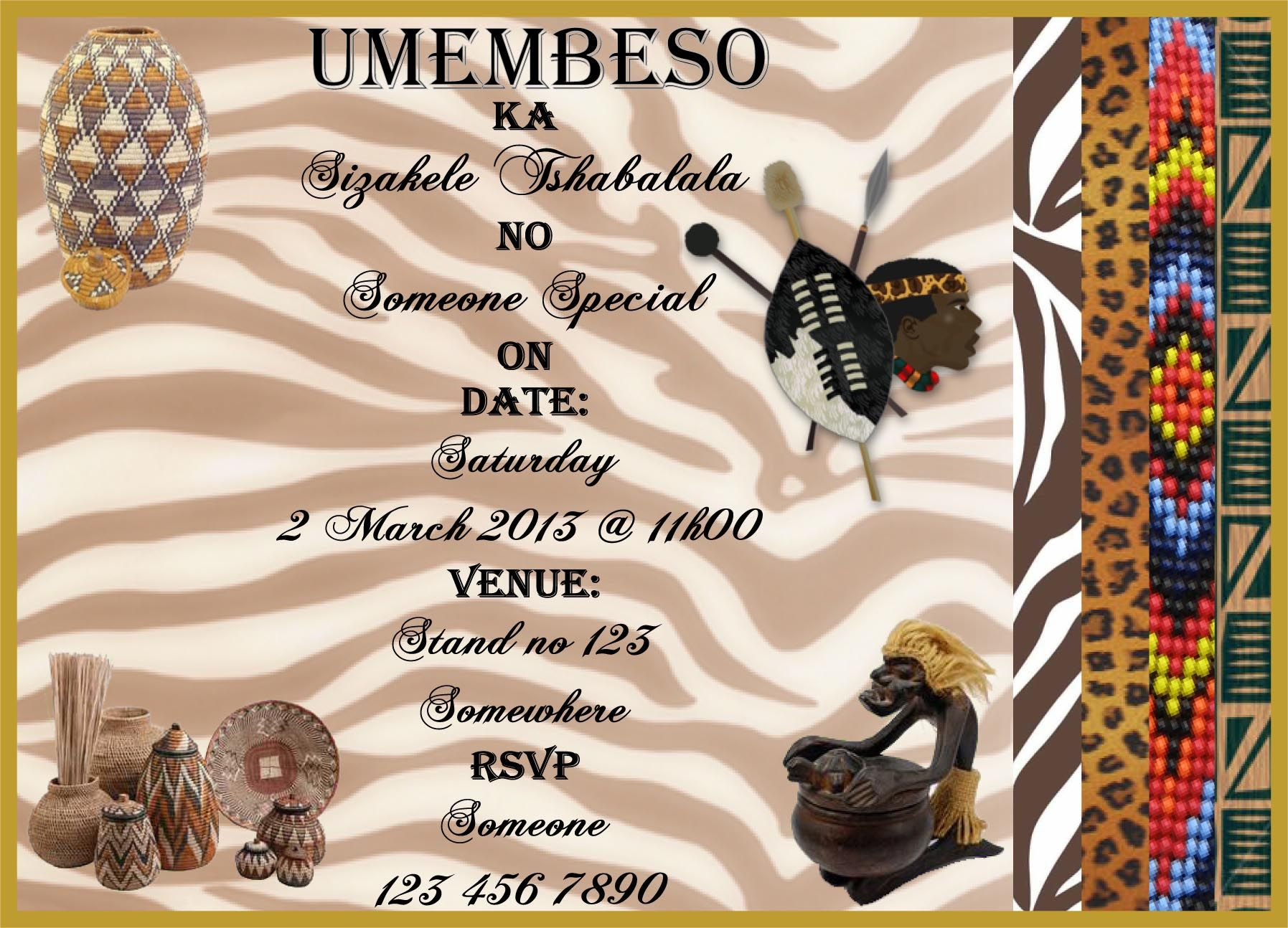 Printable Umembeso Invitations