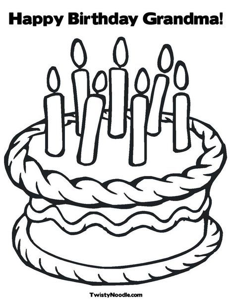 Happy Birthday Grandma Coloring Page from TwistyNoodle.com