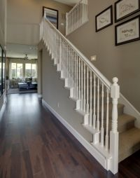 Love the white banister, wood floors, and the Wall color