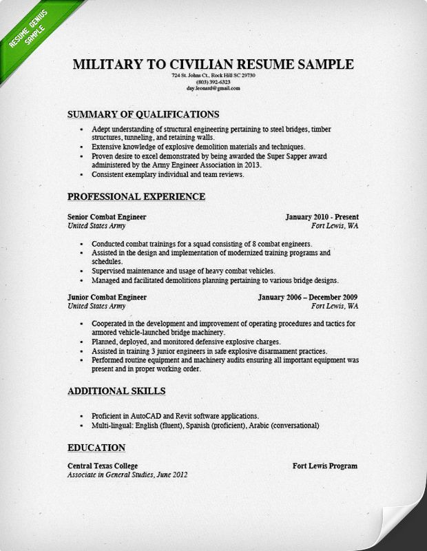 11 Army To Civilian Resume Examples Riez Sample Resumes Riez