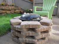 DIY Fire pit-We placed stone around our simple Weber grill ...