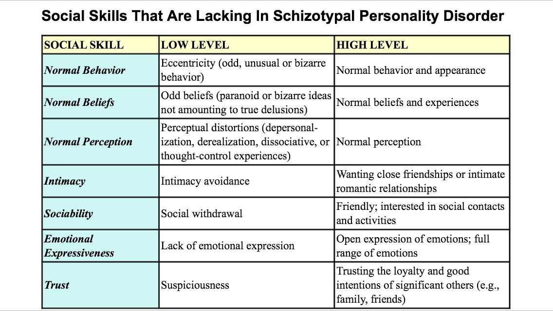 Social Skills Lacking In Schizotypal Personality Disorder