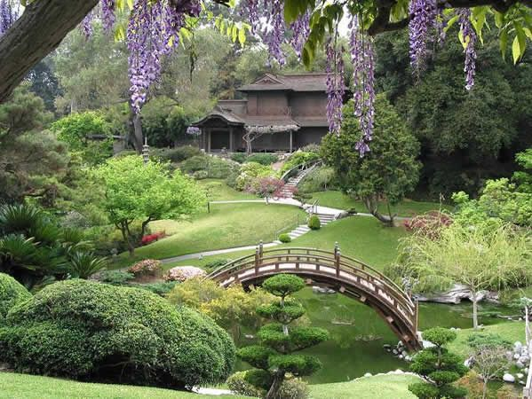 Beautiful River And Bridge Combined Japanese Chinese Garden For