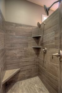 walk-in tile master shower with corner seat and corner ...