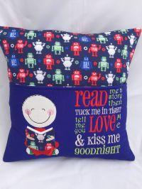 Pillow, Reading pillow, Book pocket, Boys reading pocket ...