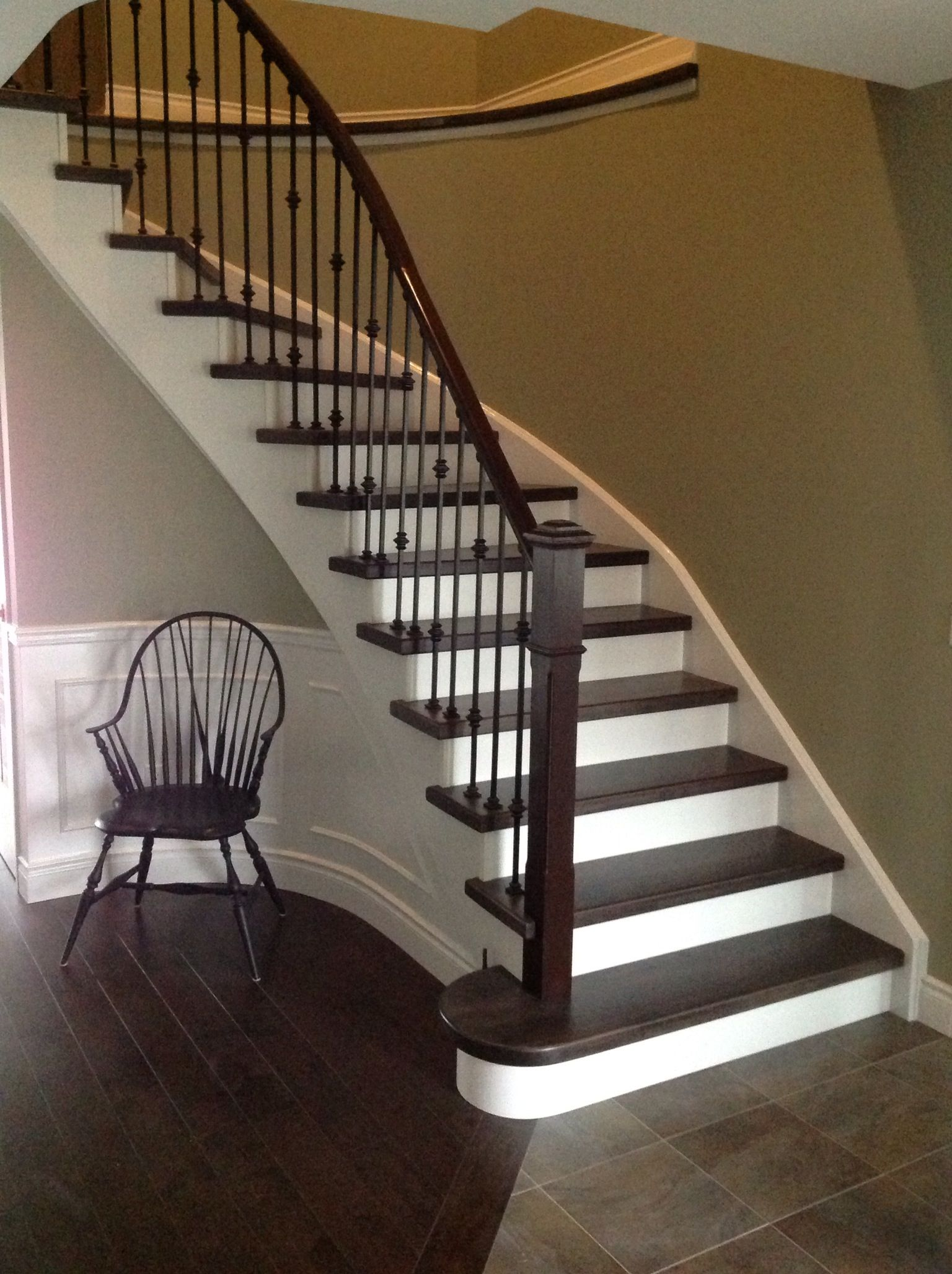 Charmant Dark Wood Stairs With White Risers
