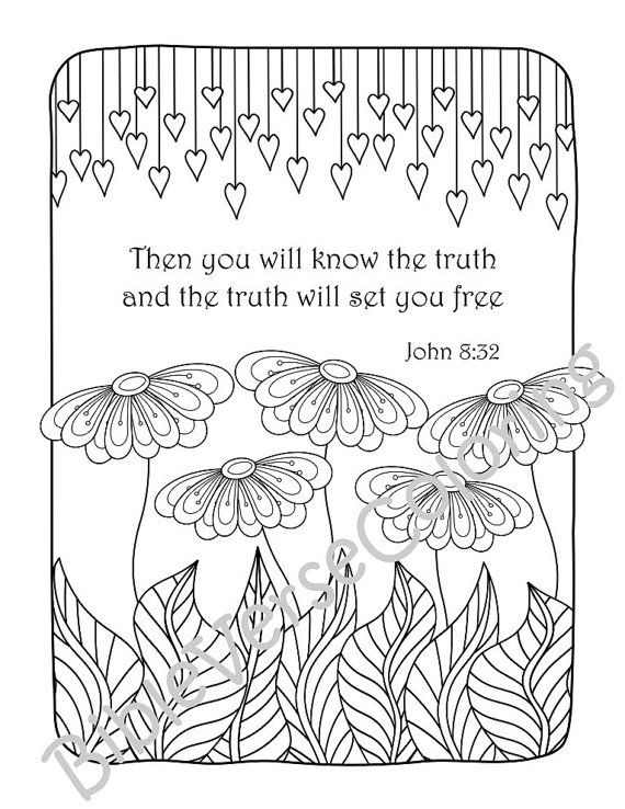 5 Bible Verse Coloring Pages Set Floral DIY by