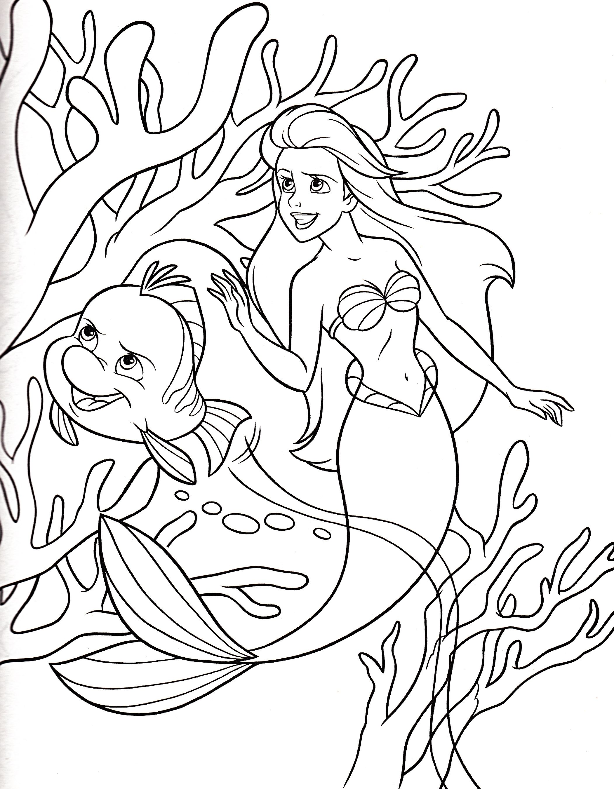 Princess Ariel And Small Fish Coloring Pages Ariel Coloring