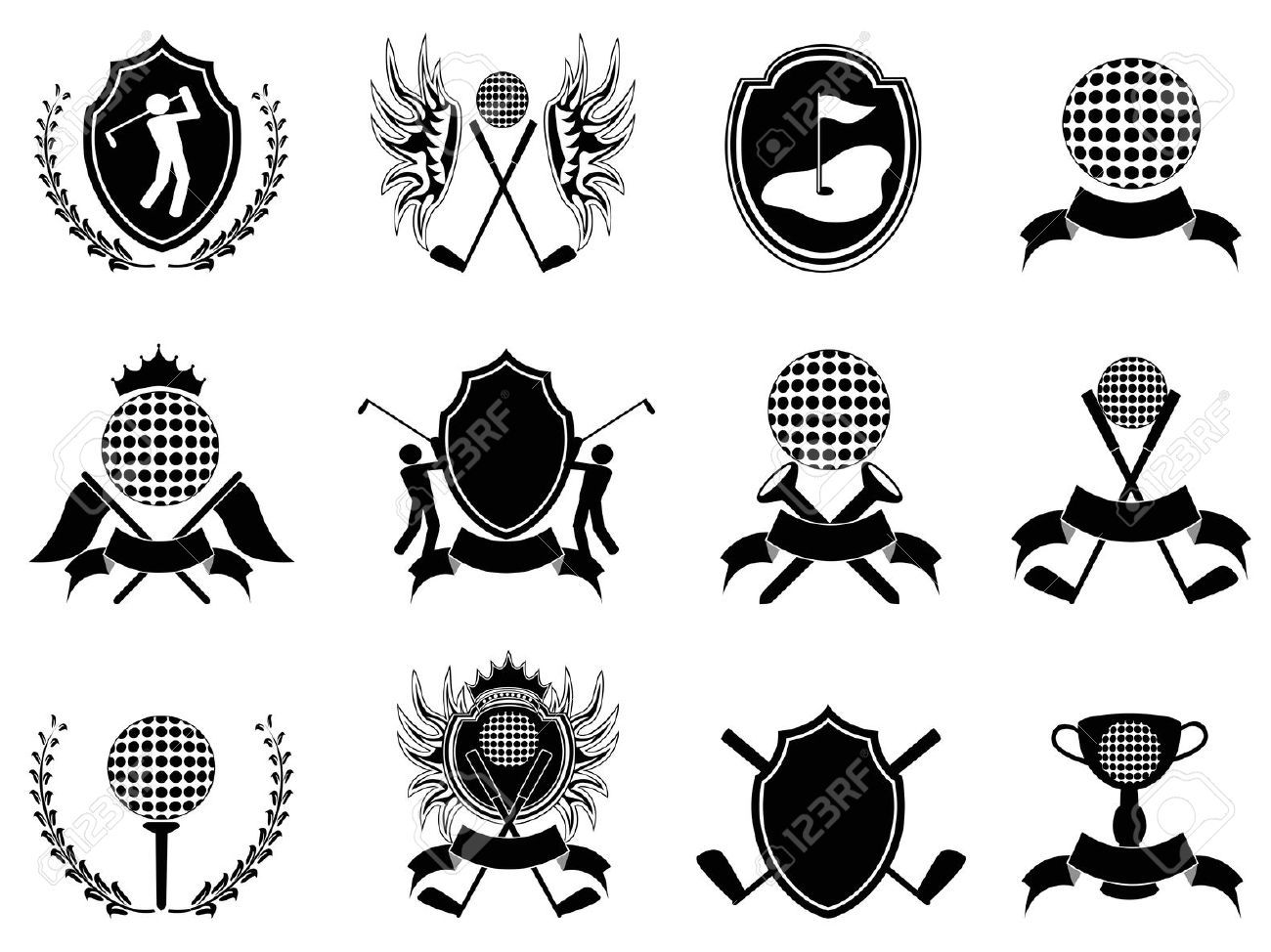 Some Collection Of Black Golf Insignia For Design Royalty