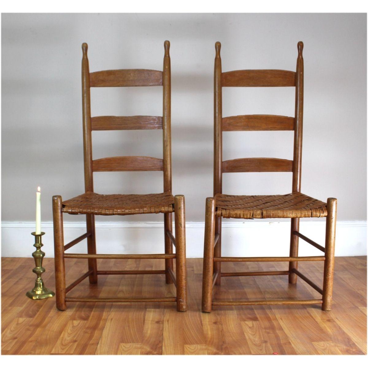 shaker ladder back chair white outdoor chairs kmart antique ladderback pair of split