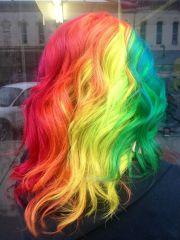 long rainbow hair . blue pink