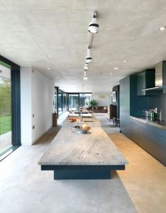 Kitchen uses  pleasing mix of concrete glass and granite in this award winning home located forest dean southeast wales also pin by corin somerville on house inspiration pinterest rh