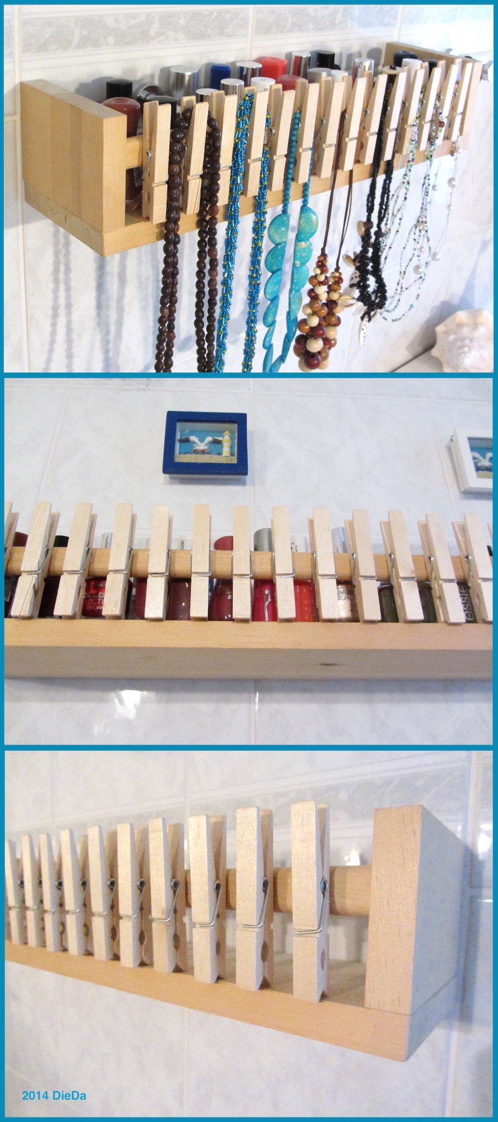 Gewrzregal von IKEA spice rack Bekvm und Holz Wscheklammern wooden clothespins