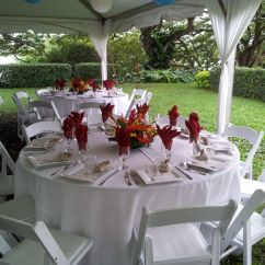 Chair Covers And Tablecloth Rentals Chairs Used For Sale 66 Quot Round Guest Table With White Linens Resin