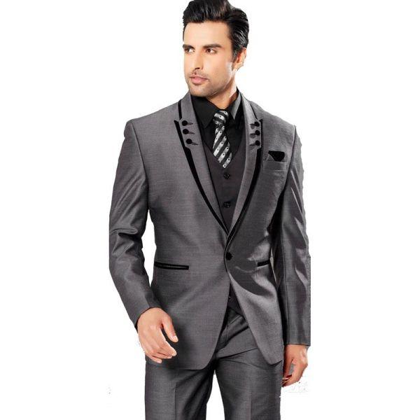 Shiny Charcoal Man Tuxedos Slim Fit Groom Tuxedo 2016 Men Business Suit Party Graduation
