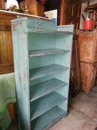 Dark seafoam green antique bookcase.   Distressed ...