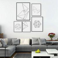 Modern Nordic Minimalist Black White Geometric Shape A4