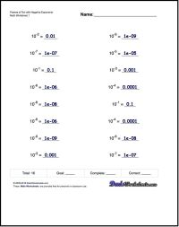 Exponents Worksheets for Powers of Ten with Negative ...